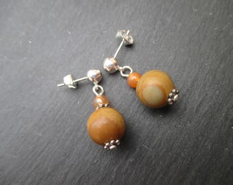 Wood Jasper earrings and orange agate