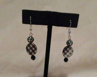 Earrings, jewelry, hook earrings, costume jewelry, black earrings, black beads, beads, valentines day, gifts, birthdays, hooks, silver beads