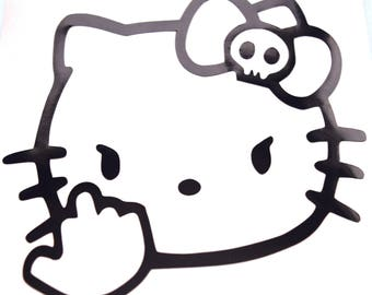 Hello Kitty Middle Finger Vinyl Decal