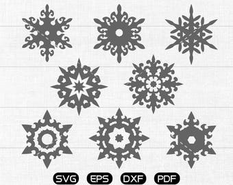 Snowflake Clipart, Winter, Merry Christmas SVG, cricut, silhouette cut files commercial use