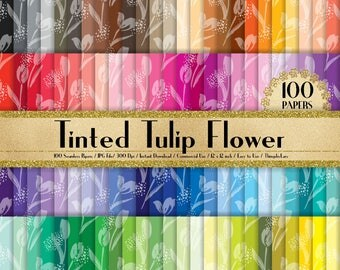 100 Seamless Tinted Tulip Flower Papers in 12 inch, 300 Dpi Planner Paper, Commercial Use, Scrapbook Paper,Rainbow Paper, 100 Flower Papers