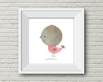 Downloadable Wall Art Modern Prints Animal Printable Nursery Art Print flamingo bird elephant Owl pink salmon grey illustration cute