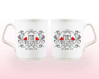 Mr and Mrs Mugs, mr and mrs mug set, mr and mrs gifts, valentines, wedding mugs, anniversary gifts, wedding gift, engagement, valentines day