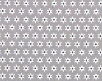 Tissu Gutermann Etoiles bleues et blanches sur fond gris- Collection Long Island