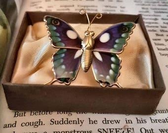 Vintage Gold Tone Enamel Butterfly Brooch