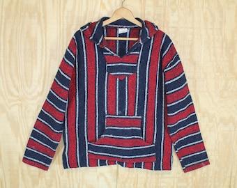Vintage 1990's Frank's Mexican Black / Red Stripe Kangaroo Pocket Hoodie Drug Rug Baja Pull Over Shirt XL