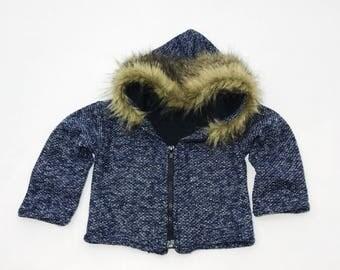 Fur Trim Zip Up Jacket