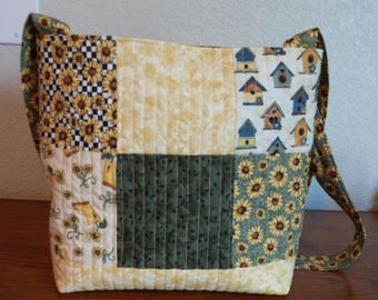 Quilted Tote Bag with sunflowers in shades of yellow and green