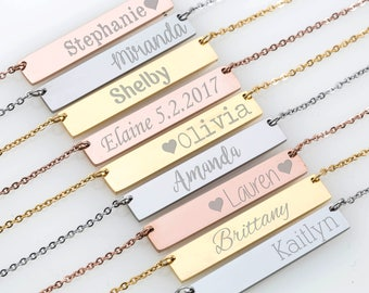 Mom necklace, Baby name necklace, Bar Necklace, New Mom Necklace, Personalized Necklace, Custom Baby Name Necklace, Mothers Day Gift for Mom