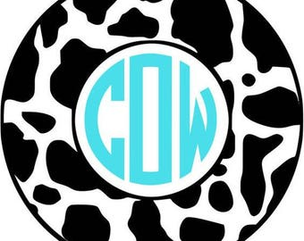 Circle monogram sticker, Cow print monogram, Vinyl decal for Tumbler- Yeti Decal- RTIC- Personalized Decal- Customized Decal