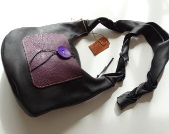 Two-tone purple and black soft leather shoulder bag