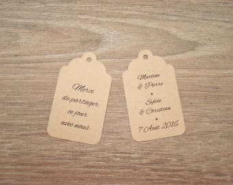 10 labels kraft - wedding, baptism-customize