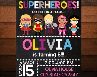 Personalized Superheroes Invitation for Girls, Girls Birthday Party, Superhero Invite, Printable Superhero, Chalkboard Invitation, Custom
