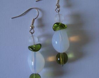 Earrings green and white glass bead