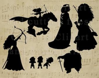 Brave SVG, Merida svg, Disney Princess svg files for silhouette or cricut, dxf, clipart, cut file