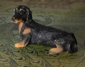 Sandicast Black Dachshund, small size sculpture, DOG Figurine, Statue, Hand Painted, Resin, Replica Realistic, Dog, figurine, Collectible