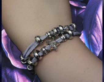 Suede wrap bracelet · Charm bracelet · Shiny Beads ·