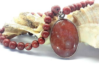 Red Moss Agate Pendant Framed in Sterling Silver on 16 inch Jasper Bead Necklace/Vintage/Handmade/Free Shipping US