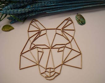 Dog face origami 02056 embellishment wooden creations