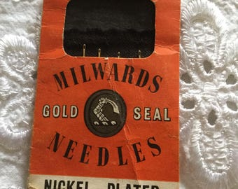 Vintage Milwards Gold Seal Nickel Plated Needles Household Assorted