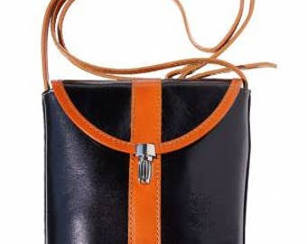 Shoulder cross body bag made of genuine calf leather. Rigid structure. Front flap with closure.