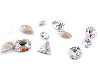 12 piece AB point back crystal rhinestones