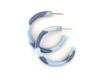 Hoop Earrings*Polymer Clay Hoops*Colourful Hoops*The Blues*