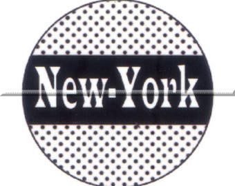 2 cabochons 20mm glass, New york, black and white tone