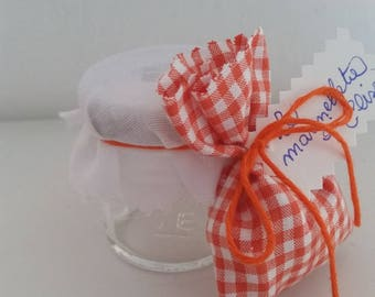 Jar favor box with fabric bag attachment