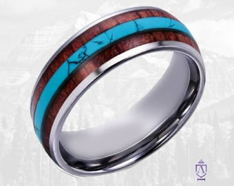 Koa Wood & Turquoise Tungsten Wedding Band | 8mm Domed Wedding Ring with Hawaiian Koa Wood and Morensi Tuquoise.