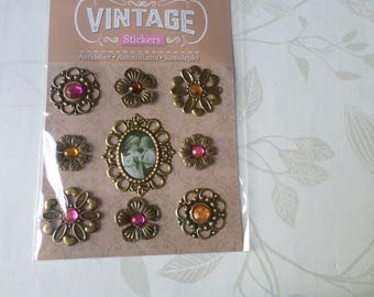 x 9 mixed embellishments/vintage cameo adhesive rhinestones/child metal bronze
