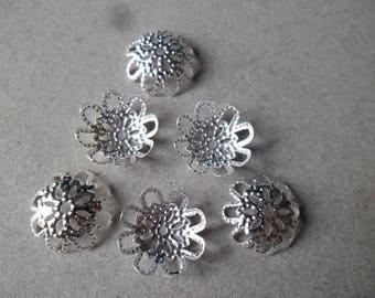 x 20 beads 15 mm Silver Flower filigree bead caps