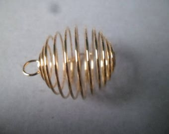 x 1 spiral pendant bead/stone cage gold 29 x 24 mm