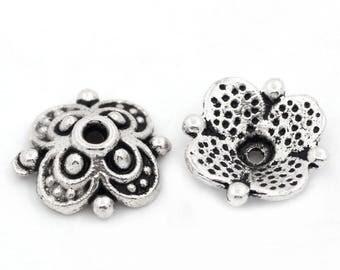 x 20 pearls shape silver metal flower antiqued 10 x 10 mm(pr perle de 12-14 mm)
