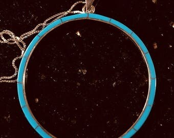 Sterling Silver HUGE Gorgeous Circle Genuine Blue Turquoise featuring a gorgeous light Matrix