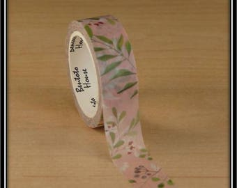 "masking tape ""Purple berries and green branches"" on pink and white 15mm x 7 m"