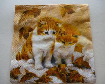 2 little brothers cats for decoration or decoupage paper napkin