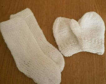 Socks and Mittens Set- One Size - Hand Knit - Accessories