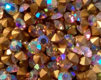 Various Size 3mm 3.5mm 4mm Point Back AB  Aurora Borealis Cut Crystal Glass Crystal Loose Rhinestones