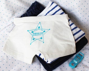 Boxer boy Sheriff star pattern - Underwear cotton biologiq