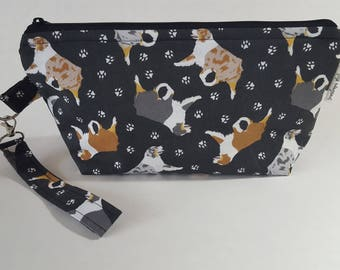 Australian Shepherd Wedge Project Bag for Knitting or Crochet, Travel/Makeup bag, too!