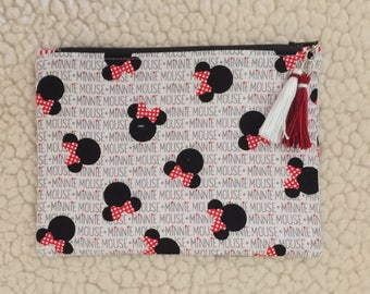 Minnie - back to school - zippered case - pencil case - zippered pouch - makeup bag