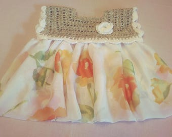 Baby girl dress is made with a chiffon   fabric.Free shipping