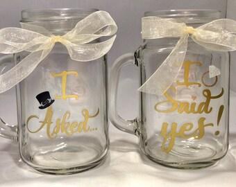 I Asked I Said Yes Wedding Mason Jars, Rose Gold, Gold, Copper Rustic Mugs, Mason Jar Wedding, Mason Jar Engagement, Engagement Announcement