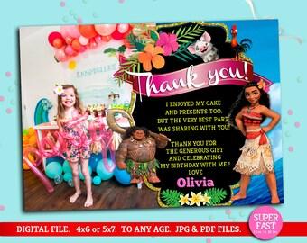 Moana THANK YOU card whit photo, Moana greeting card with photo, Moana customized thank you card, Moana psrty, Moana, to Any age. M027