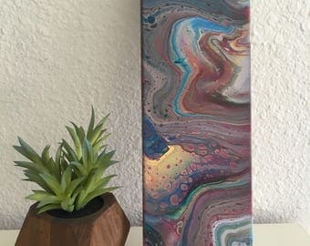 Multi-colored Fluid Acrylic pour painting on 4x12 Canvas