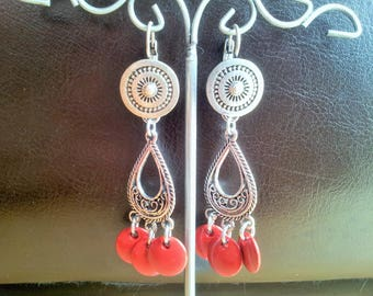 Red and silver Teardrop Earrings