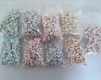 Set 801 bead 7 mm - round alphabet acrylic