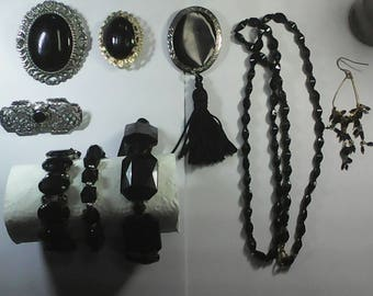 Vintage Mourning jewery. 3 bracelets,4 brooch and more