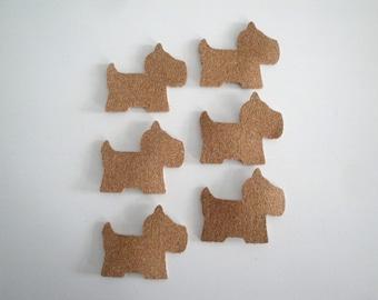Set of six Cork dog stickers